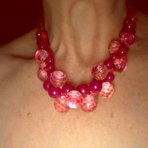 "Vintage 18"" necklace pink faceted beads & silverto"